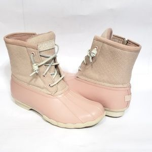 Sperry Saltwater Pink Wool Duck Boots 6.5